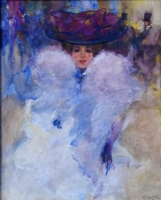 Young woman with big lilac hat