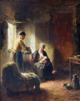 Interior with a mother feeding her baby