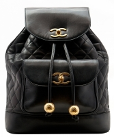 Chanel Black Lambskin Leather Jumbo Backpack