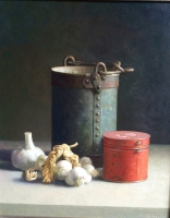 Still-life with a Red Tin, Bucket and Garlic