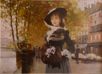 Young lady with white flowers, Paris