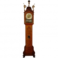 A Dutch burr walnut longcase clock with rare 'swing automaton' by M. Buys Amsterdam, circa 1775.