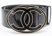 Chanel Black Patent Leather CC Belt