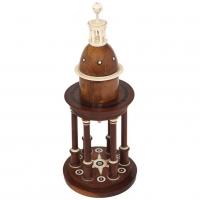 An unusual circular wooden temple dome pillar timepiece clock circa1830