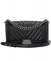 Chanel Black Chevron Quilted Boy Bag New Medium