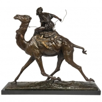 A beautiful rare well patinated bronze of an Arab on the dromadaire, circa 1880