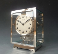 A fine Art Deco Reutter Atmos clock, nickel, no.  3645, France ca. 1930.