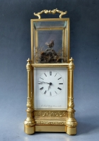 A rare French 'singing bird' automata carriage clock, striking, circa 1850.