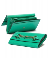 Gucci Jasmine Green Leather Continental Horsebit Wallet