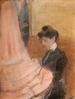 Dressmaker Working on a Pink Robe