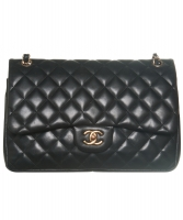 Chanel Black Quilted Lambskin Leather Classic Double Jumbo Flap Bag