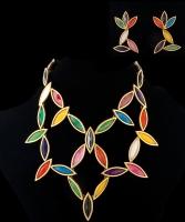 Multicolor Enamel Rhinestone Geometric Earrings and Necklace