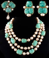 Yves Saint Laurent 1980s Couture Turquoise Beads and Baroque Pearl Gold Parure