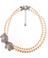 Siman Tu Two Strand Fresh Water Pearl & Crystal Necklace