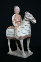 A Northern Qi pottery sculpture warrior on horseback, Chinese Ceramics