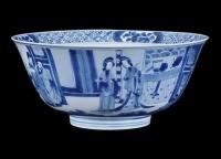 Kangxi Blauw Wit porselein Kom met figuren in landschap decor, Chinees Qing Dynastie keramiek