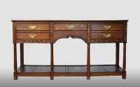 English dresser-base with five drawers, about 1750.