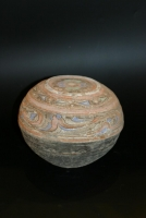 A Chinese grey earthenware polychrome bowl and cover, Han Dynasty Ceramics from China