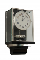 W41 Large Nickel Plated Art Deco J. L. Reutter Wall Hanging Three-Glass Atmos Clock.