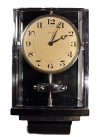 W28 Large nickel Plated Art Deco J. L. Reutter Wall Hanging Three-Glass Atmos Clock.