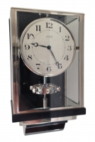 W39 Large Nickel Plated Art Deco J. L. Reutter Wall Hanging Three-Glass Atmos Clock.
