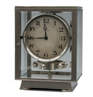 M155 Nickel plated art deco J. L. Reutter four-glass Atmos clock