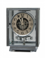M115 Chrome  plated art deco J. L. Reutter four-glass Atmos clock