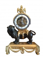 M175 Louis XVI mantel lion clock, with skeletonized clockwork, solid silver hands and frame on the bezel and striking on a silver bell