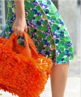 Prada Orange Raffia Grass Bag - Prada