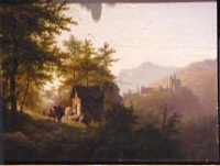 Three travellers with a donkey and a dog (house on right side)