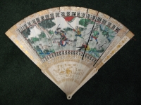 Antique Chinese Ivory Fan, wit a painted design of Westerners, Qing dynasty works of art