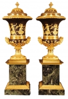 CA11 Empire vases plus mantel clock, complete set, manner of Medici vase.