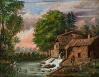 Paysage avec moulin