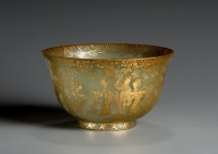 A Chinese white jade bowl with a gilt design, QIng dynasty Qianlong period antique art