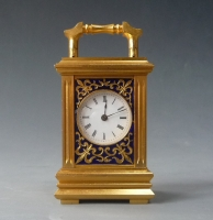 An exquisite and decorative miniature carriage clock with portraits of young women, France c. 1880