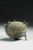 Painted bronze Ding, Han Dynasty Chinese antique art