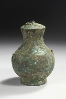 Bronze Hu with a painted design. Han dynasty archaic bronzes