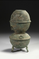 Chinese Bronze Yan with a painted design. Han Dynasty archaic bronzes from China