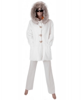 Avanti White Mink Fur Coat with Coyote Trimmed Hood