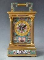Cloisonné gedecoreerde reisklok, case Anglaise, Richard, circa 1880.