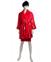 Frans Molenaar Red Patent Trench Coat w Skirt