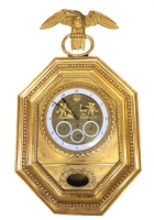 V12 Gilt wood Vienna calendar wall clock with amor forge automaton