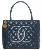Vintage Chanel Navy Blue Caviar Quilted Medallion Tote - Chanel