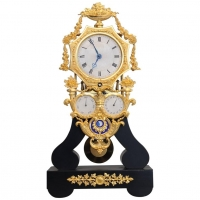 A very nice and interesting four dial Louis Philippe French skeleton clock, 1840