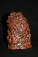 A Chinese wooden sculpture of a mountain with immortals, Qing dynasty Works of Art