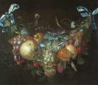 Still life with flower and fruit garland by Pieter Gallis - Pieter Gallis