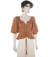 Documented Yves Saint Laurent 'Rive Gauche' Brown Corset Top