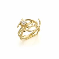 Geelgouden ring met 'cape' diamant (0.51 ct)