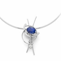 White gold pendant with Royal Blue sapphire (8.57 ct) and diamonds