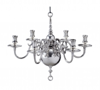 17th century Dutch silver six-light chandelier
